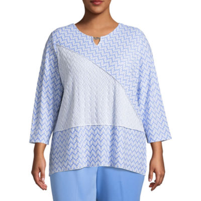 Alfred Dunner Bonita Springs Textured Splice Tee-Plus