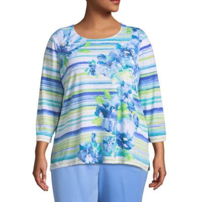 Alfred Dunner Bonita Springs Watercolor Stripe Floral T-Shirt-Plus