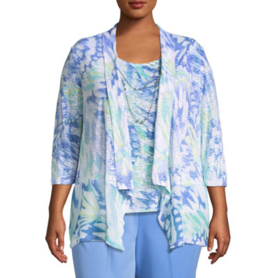 Alfred Dunner Bonita Springs Abstract Leaf Layered Blouse-Plus