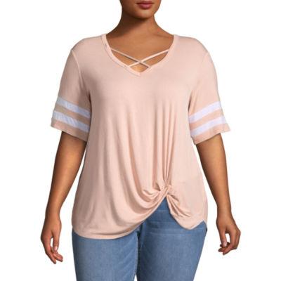 Boutique + Short Sleeve Knit Blouse - Plus