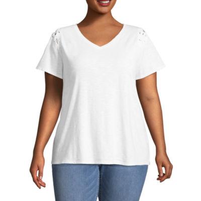 Boutique + Short Laceup Sleeve T-Shirt - Plus