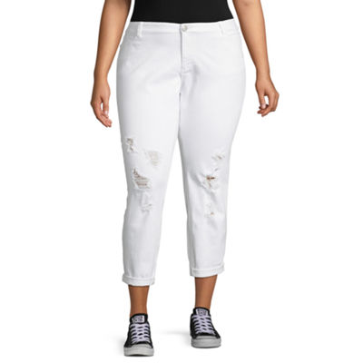 Boutique + White Ripped Girlfriend Crop Jean - Plus