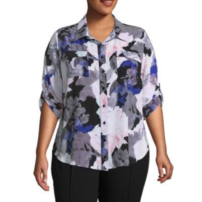 Worthington 3/4 Sleeve Button Front Woven Blouse - Plus