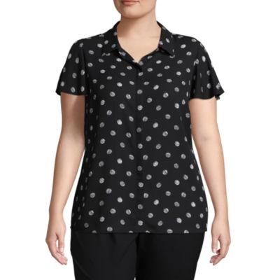 Worthington Short Sleeve Button Front Woven Dots Blouse - Plus