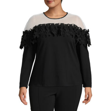 Project Runway Lace Ruffle Shoulder Sweatshirt - Plus