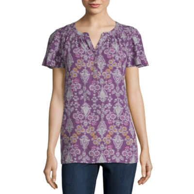 St. John's Bay Short Sleeve Shirred Y-Neck Blouse - Tall