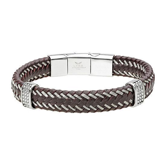 Silver Tone Stainless Steel Braid Link Bracelet
