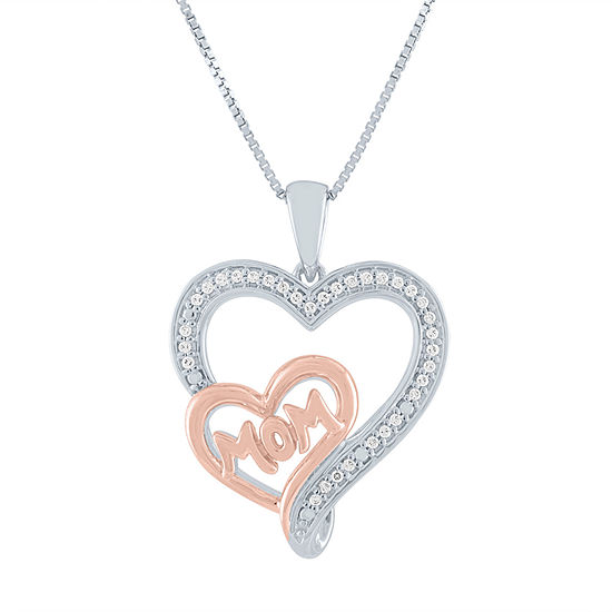 """""""Mom"""" Womens 1/10 CT. T.W. Genuine Diamond 14K Rose Gold Over Silver Sterling Silver Heart Pendant Necklace"""