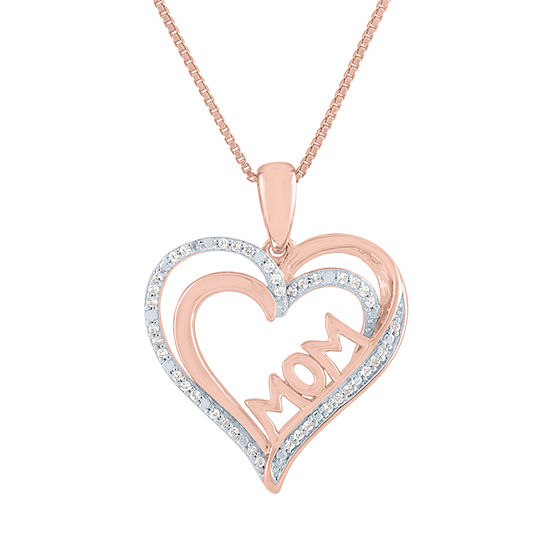 """Mom"" Womens 1/10 CT. T.W. Genuine Diamond 14K Rose Gold Over Silver Heart Pendant Necklace"