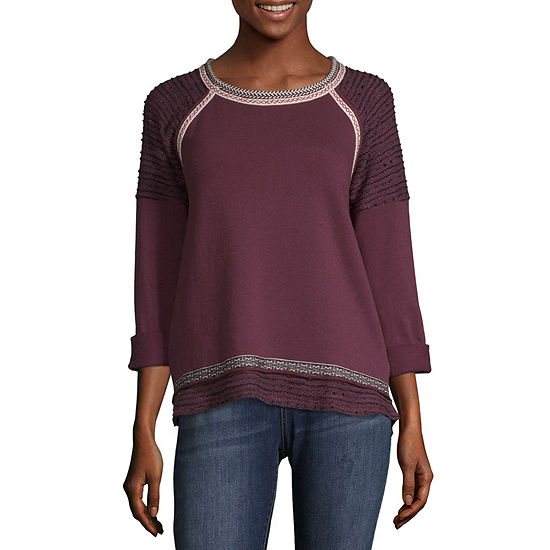 Rewind Womens Scoop Neck Long Sleeve French Terry Blouse-Juniors