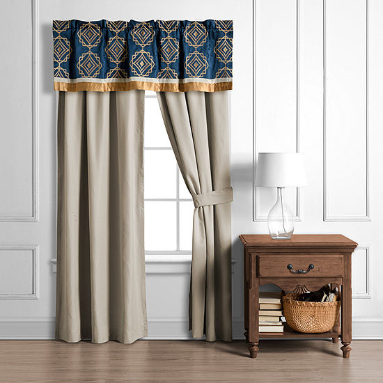 JCPenney Home Embry Light-Filtering Rod-Pocket Set of 2 Curtain Panel