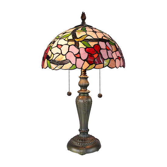 Dale Tiffany Cammy Floral Glass Table Lamp