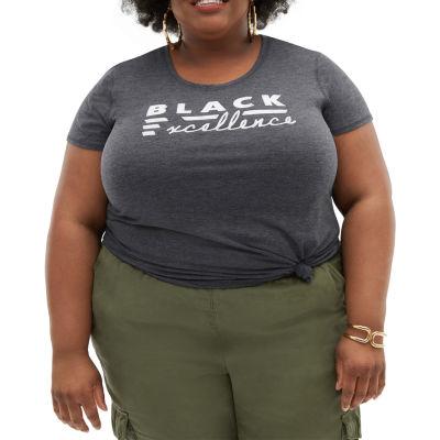 Juniors Plus Black History Month Womens Scoop Neck Short Sleeve Graphic T-Shirt