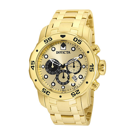 Invicta Pro Diver Mens Gold Tone Stainless Steel Bracelet Watch-24850