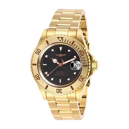Invicta Pro Diver Mens Automatic Gold Tone Stainless Steel Bracelet Watch-28664