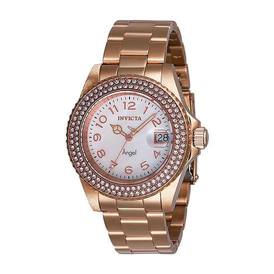 Invicta Angel Womens Rose Goldtone Stainless Steel Bracelet Watch-28674