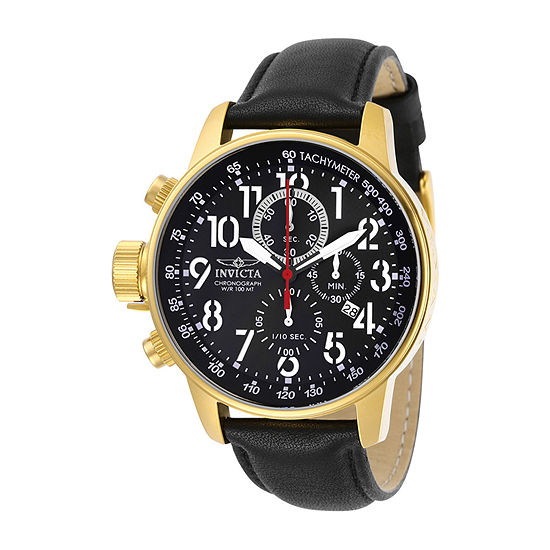 Invicta I-Force Mens Black Leather Strap Watch-28741