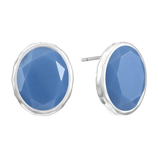Liz Claiborne Blue 13.7mm Oval Stud Earrings