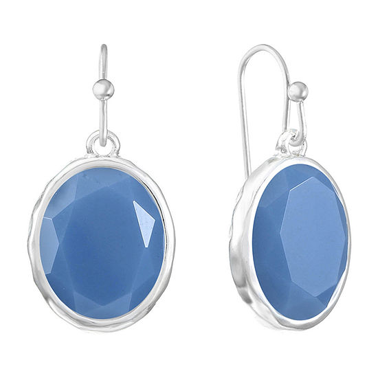 Liz Claiborne Blue Oval Drop Earrings