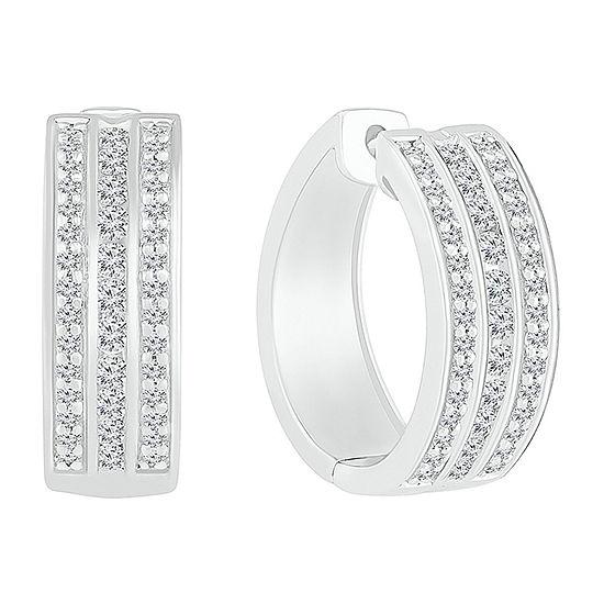 1 CT. T.W. Genuine White Diamond Sterling Silver 20.5mm Hoop Earrings