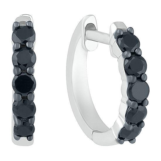 1/2 CT. T.W. Genuine Black Diamond Sterling Silver 13mm Hoop Earrings