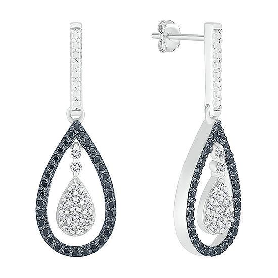 1/2 CT. T.W. Genuine Black Diamond Sterling Silver Pear Drop Earrings