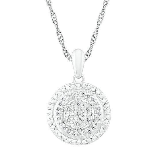 Womens 1/10 CT. T.W. Genuine White Diamond Sterling Silver Round Pendant
