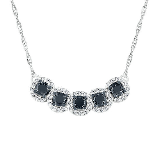 Womens 18 Inch 1/2 CT. T.W. Black Diamond Sterling Silver Link Necklace