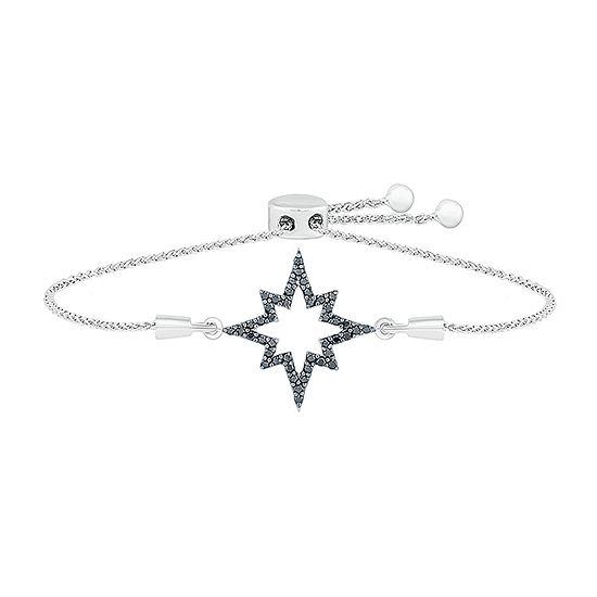 1/4 CT. T.W. Genuine Black Diamond Sterling Silver Star Bolo Bracelet