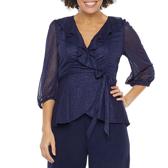 J Taylor Womens 3/4 Sleeve Blouse