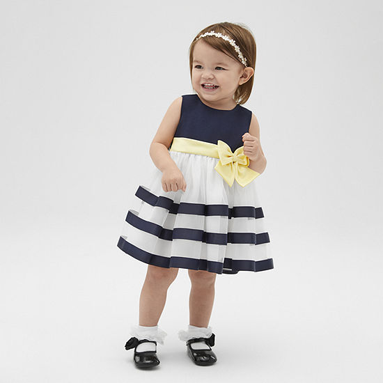 Bonnie Jean Ribbon Baby Girls Sleeveless Striped A-Line Dress