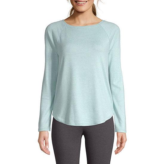 St. John's Bay Active Petite-Womens Round Neck Long Sleeve T-Shirt
