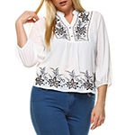 White Mark 'Esther' Embroidered Peasant Top - Plus