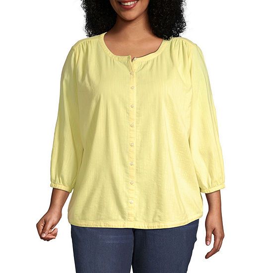 St. John's Bay-Plus Womens Round Neck 3/4 Sleeve Blouse