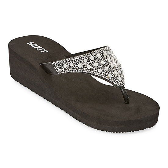 Mixit Womens Pearl Mold Wedge Flip-Flops