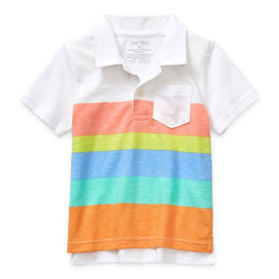Okie Dokie Boys Point Collar Short Sleeve Polo Shirt - Toddler