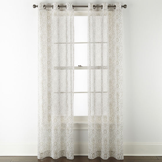 Regal Home Chloe  Damask Sheer Grommet-Top Set of 2 Curtain Panel