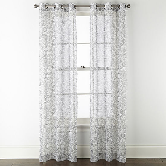 Regal Home Chloe  Damask Sheer Grommet-Top Set of 2 Curtain Panel
