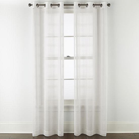 Regal Home Windowpane Sheer Grommet-Top Set of 2 Curtain Panel