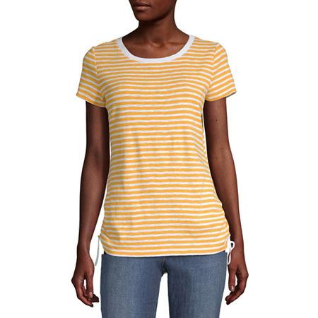 Liz Claiborne Womens Crew Neck Short Sleeve T-Shirt, X-large , Yellow