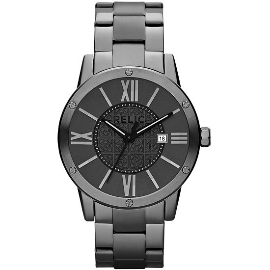 Relic By Fossil Mens Gray Stainless Steel Bracelet Watch-Zr11998