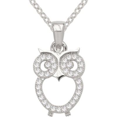 Sparkle Allure™ Pure Silver Plated Cubic Zirconia Fashion Owl Pendant Necklace