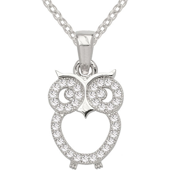 Sparkle Allure Pure Silver Plated Cubic Zirconia Fashion Owl Pendant Necklace