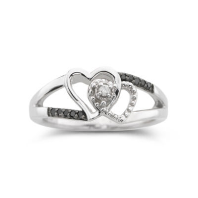 Black & White Diamond-Accent Two Hearts Ring