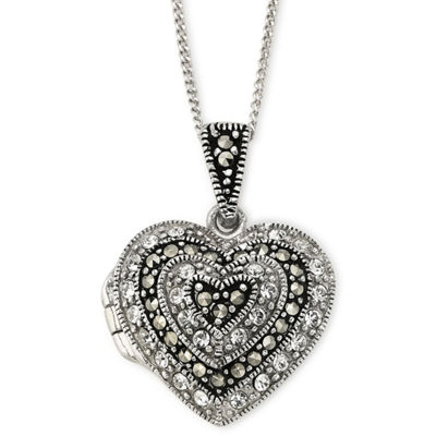 Crystal & Marcasite Heart Locket Pendant Necklace