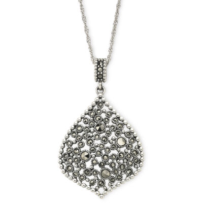 Sterling Silver Marcasite Teardrop Pendant Necklace
