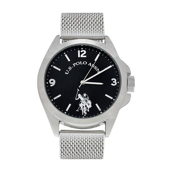 U.S. Polo Assn. Mens Silver Tone Strap Watch-Usc80505jc