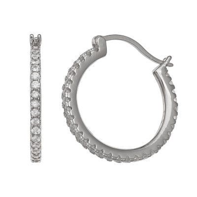 Silver Treasures White Sterling Silver Hoop Earrings