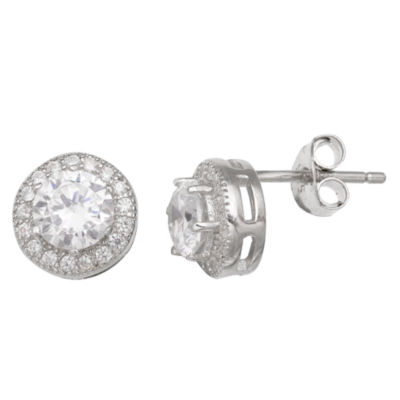Silver Treasures Clear 7mm Stud Earrings