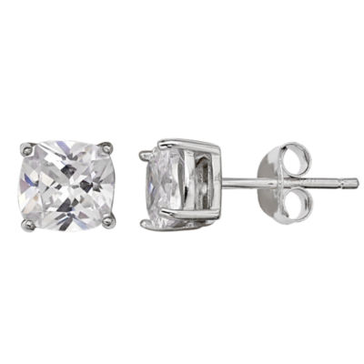 Silver Treasures Cushion Clear Sterling Silver Stud Earrings